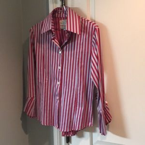 Fun red and baby blue striped dress shirt